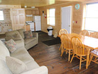 Log Cabin Rental - Living Room and Kitchen - Maine Whitewater