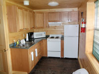 Log Cabin Rental - Full Kitchen View from Living Room - Maine Whitewater